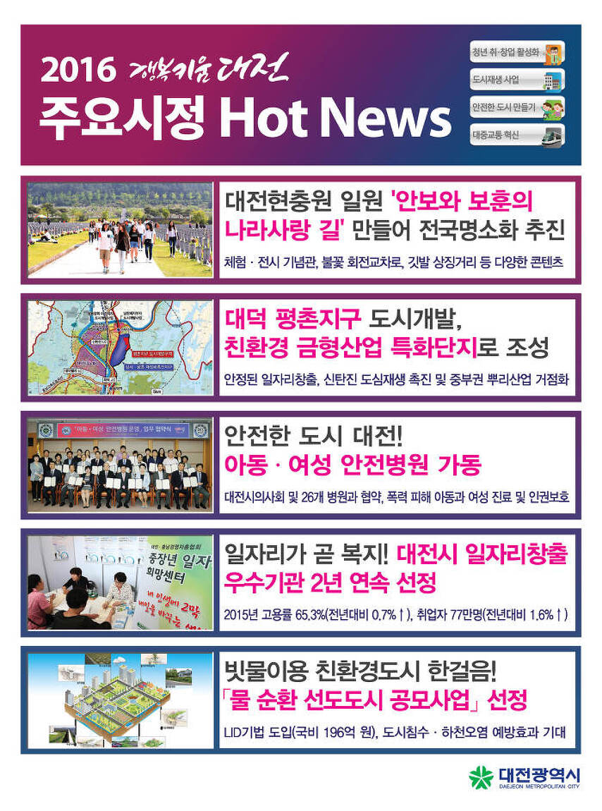 2016년 6월 대전시정 핫뉴스(국립대전현충원 나라사랑..