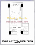 One Shangri-La Place - Studio Type A Unit Layout