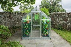 온실에 플라스틱 화초를 심은 독특한 예술 작품
