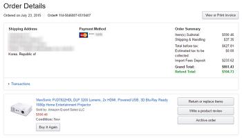 [Amazon.com] Viewsonic PJD7822HDL 3D DLP 프로젝터 ($590.46 / $37.3)