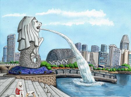 [수채화] 싱가포르 머라이언 공원
