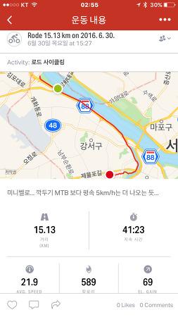 라이딩 일지 2016.6.30