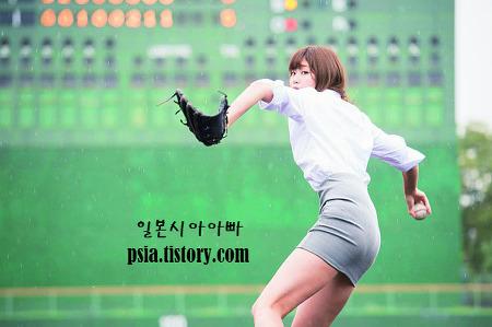 일본 미녀 야구 시구 전문 아이돌! 이나무라 아..