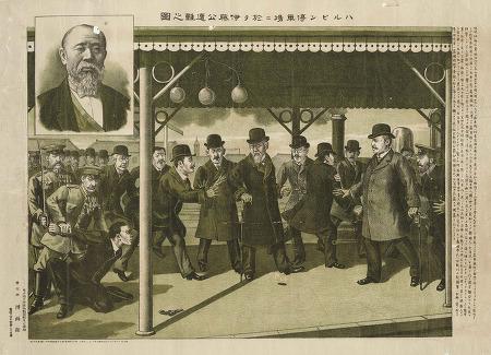 이토 히로부미를 뚫어져라 쳐다보는 안중근 의사의 1909년 판화