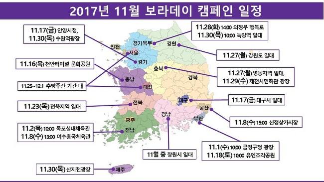 2017년 11월 보라데이 캠페인 일정