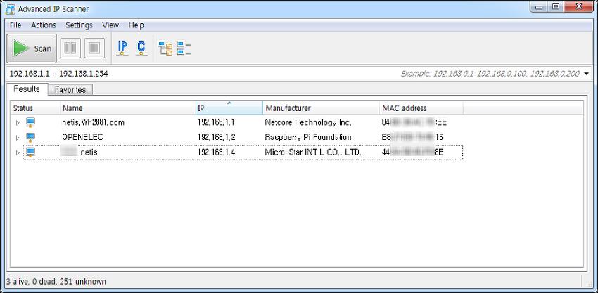 연결된 모든 IP주소 알아내기 - ipscan24