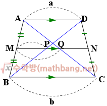 사다리꼴의 중점 연결 정리 증명 3