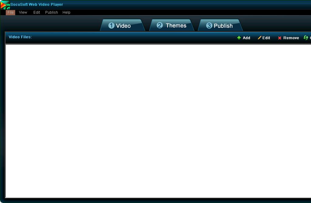 설치한 뒤 실행 화면 1 - SocuSoft Web Video Player