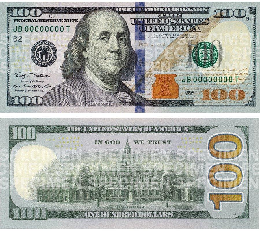 100달러 새지폐 구경하세요