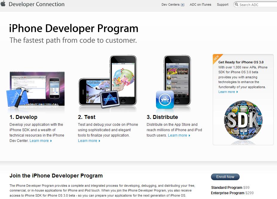 애플의 iPhone Developer Program 소개 홈피를 화면 캡처 @ 2009.5.8 13:33