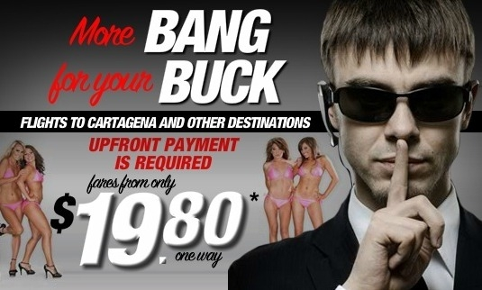 스피리트항공의 오바마 대통령 경호원의 성매매를 조롱한 광고