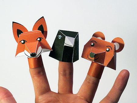 여우, 까마귀, 곰 손가락 종이인형!