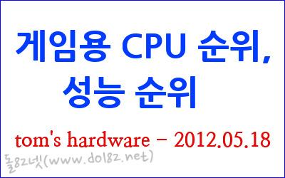게임용 CPU 순위, 성능 순위 - 탐스하드웨어(2012.05월)