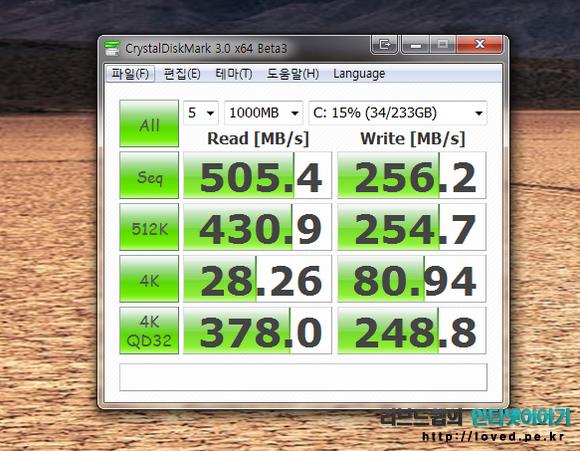 삼성 SSD 840 250GB 벤치마크, 윈도우8 프로 & SSD 벤치마크 프로그램 크리스탈 디스크마크