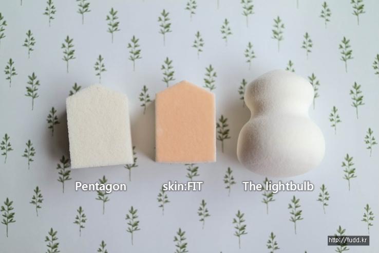 [슈에무라]스펀지 3종 비교, 펜타곤, 스킨핏, 더라이트벌브 스펀지