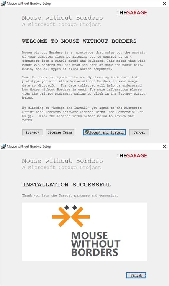 윈도우 키보드 마우스 공유 프로그램 Microsoft Garage Mouse without Borders