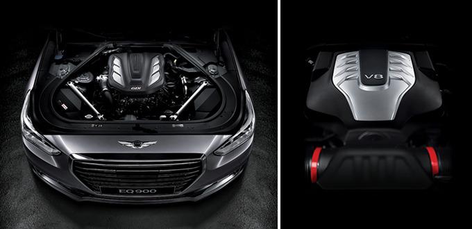 람다 3.3 V6 T-GDi 엔진(좌), 타우 5.0 V8 GDi 엔진(우)