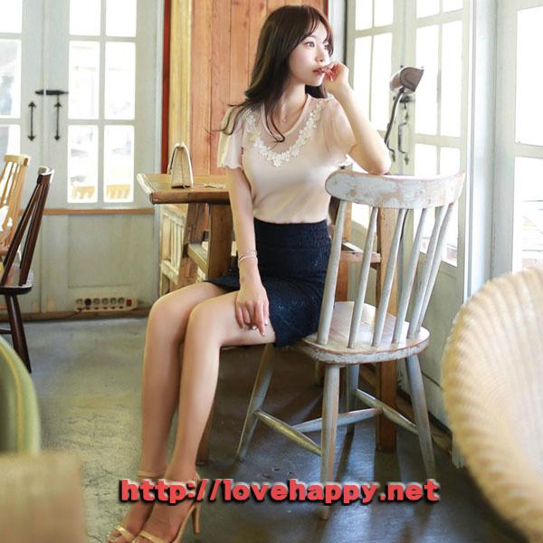 여성패션 티셔츠 넥라인 플라워 레이스 001