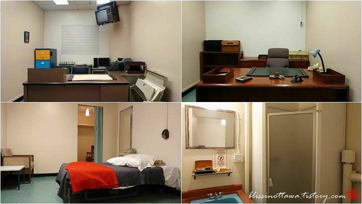 벙커 내 캐나다 총리 집무실 및 침실입니다