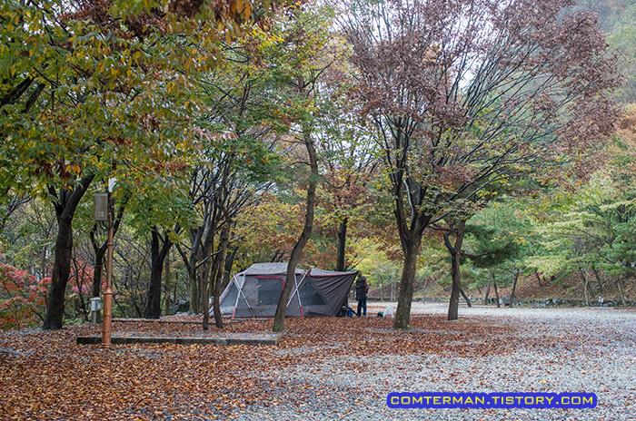 남이자연휴양림 캠핑장 풍경