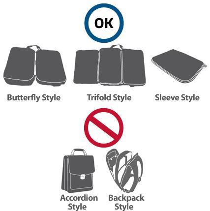 TSA 가 제시한 노트북 채 검사 가능한 가방과 그렇지 않은 가방 형태