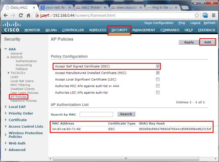 Cisco Virtual Wireless Controller and Vmware Promiscuous
