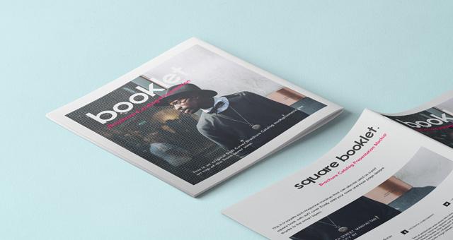 무료 잡지 브로셔 목업 Square Psd Brochure Mockup Vol4