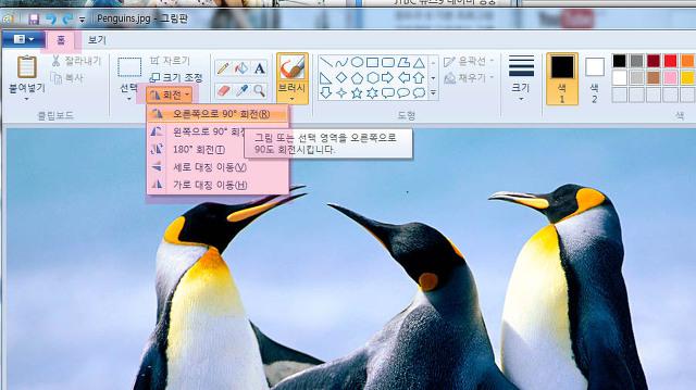 윈도우7 그림판 그림,사진 회전 및 크기 조절방법