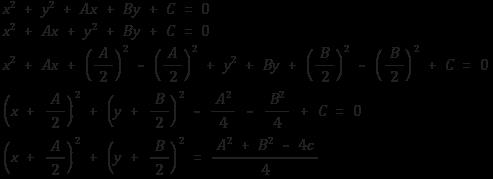 원의 방정식 일반형을 표준형으로 바꾸기