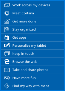테블릿용 윈도10 기능들