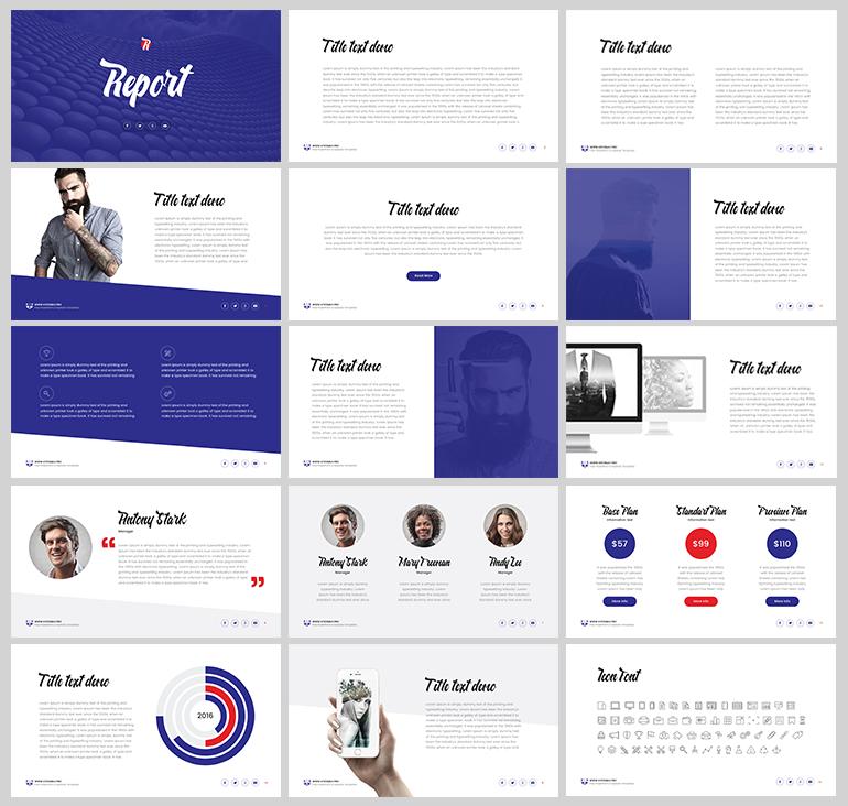 보라색을 포인트로 사용한 PPT 템플릿 - Free Purple PowerPoint Template For Report