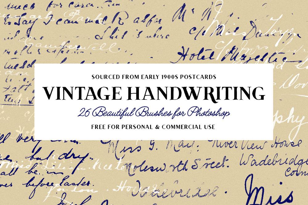 26 가지 빈티지 영문 필기체 포토샵 브러쉬 - 26 Free Vintage Handwriting Photoshop Brushes