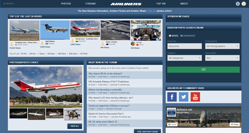Airliners.net 5번째 main page 등록, Top photo 선정 (2017. 3. 14)