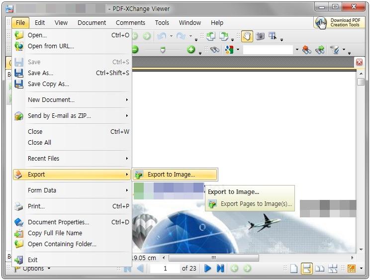 PDF 뷰어에서 PDF JPF 변환 할수 있는 프로그램 PDF-XChange