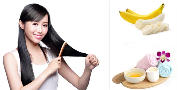 빗질하는 여자, 바나나와 계란