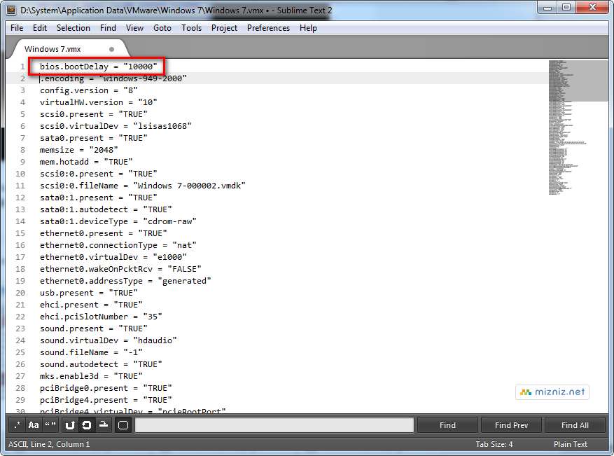 VMware Workstation .vmx 파일 편집