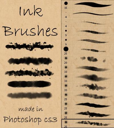 포토샵 무료 잉크/수채화 브러쉬 세트 - Free Photoshop Ink/Watercolor Brush Set