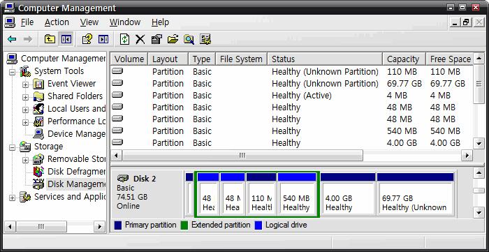 ESX Server 3i 가 자동으로 잡은 파티션
