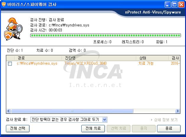 [그림 6] nProtect Anti-Virus/Spyware V3.0 진단 및 치료 화면