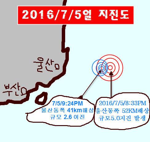 울산동쪽 바다 지진 5.0