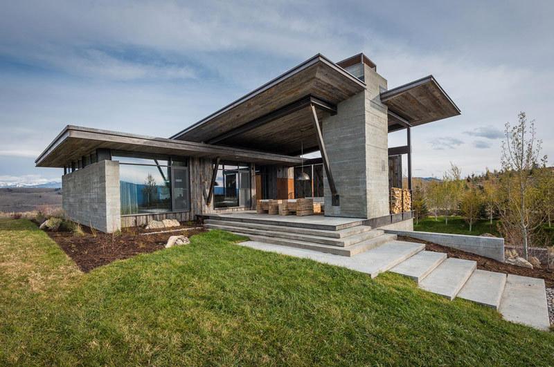 *버터플라이 루프, 주말주택 [ Pearson Design Group ] Home on the Range full of Modern Imagination