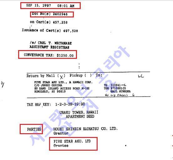 한화 하와이콘도 매매계약서 1997