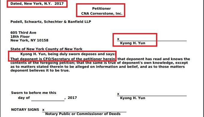삼풍소유의 맨해튼빌딩을 매입한 CNA코너스톤이 지난 10월, 뉴욕시에 제출한 재산세조정신청서 - 서명자는 이 법인 재무인 윤경훈씨로, 이건물을 CNA에 매도할때 삼풍을 대리해 서명한 인물과 동일인물이다