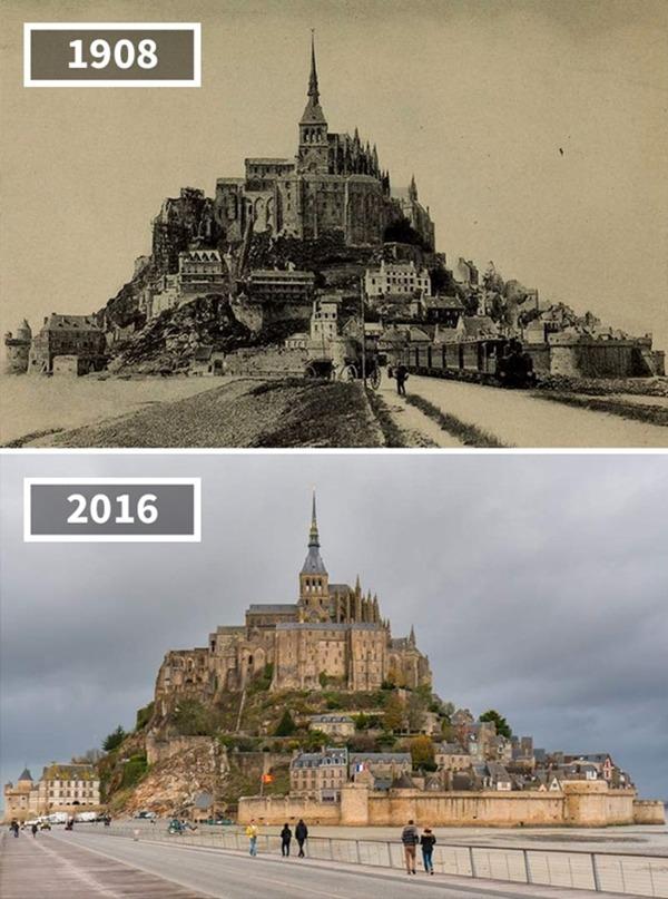 프랑스, 몽생미셸, '마차와 증기기관차', 1908~2016