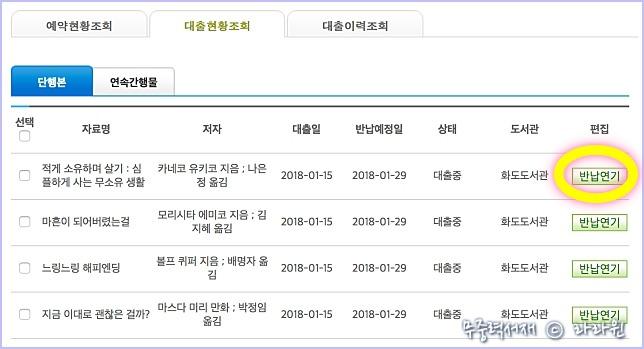 남양주 도서관 대출 연장