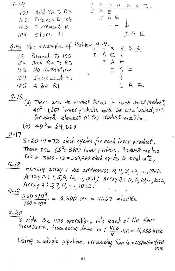컴퓨터구조 연습문제, 모리스 마노 챕터9 63