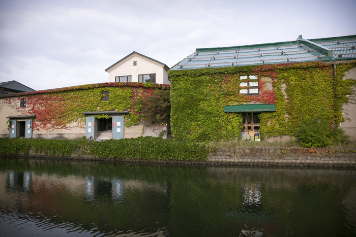 홋카이도 오타루에 있는 운하과 그 주변 건물