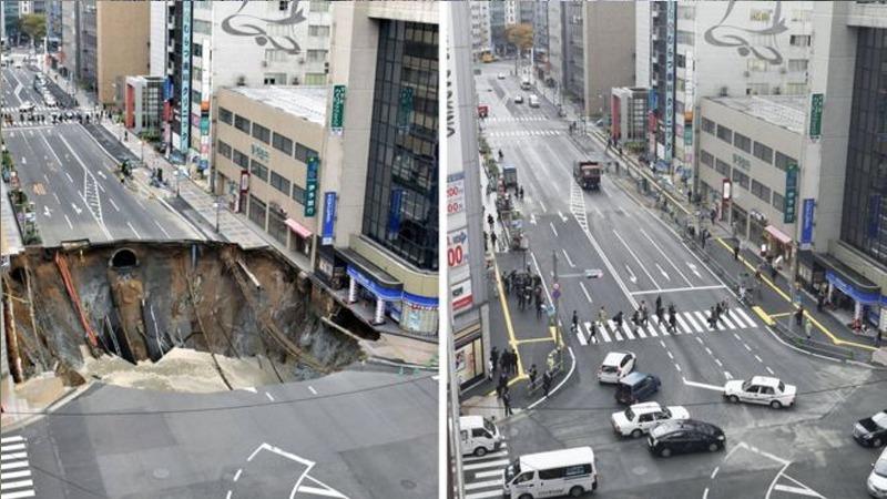 사진: 일본 후쿠오카의 도시 한복판에 발생한 싱크홀. 인간에 의한 대표적인 경우.